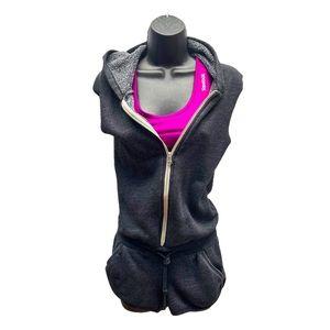 Aritzia Grey Cotton Romper Zip Up Hoodie Size XXS